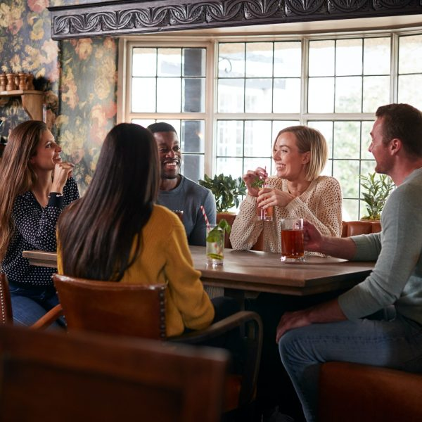 Group Of Friends Meeting For Lunchtime Drinks In Traditional English Pub